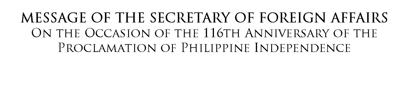 Message of the Secretary of Foreign Affairs